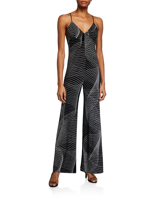 Norma Kamali Printed Slip Jumpsuit - Size: Extra Large