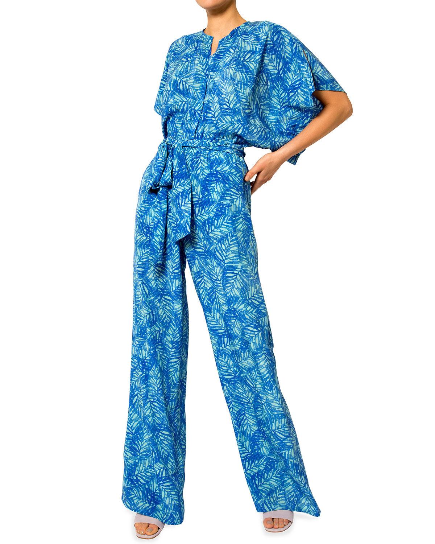Jaline Natasha Foliage-Motif Jumpsuit - Size: Large