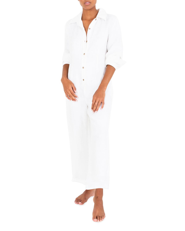 ANEMOS Long-Sleeve Linen-Blend Ankle Jumpsuit - Size: Large