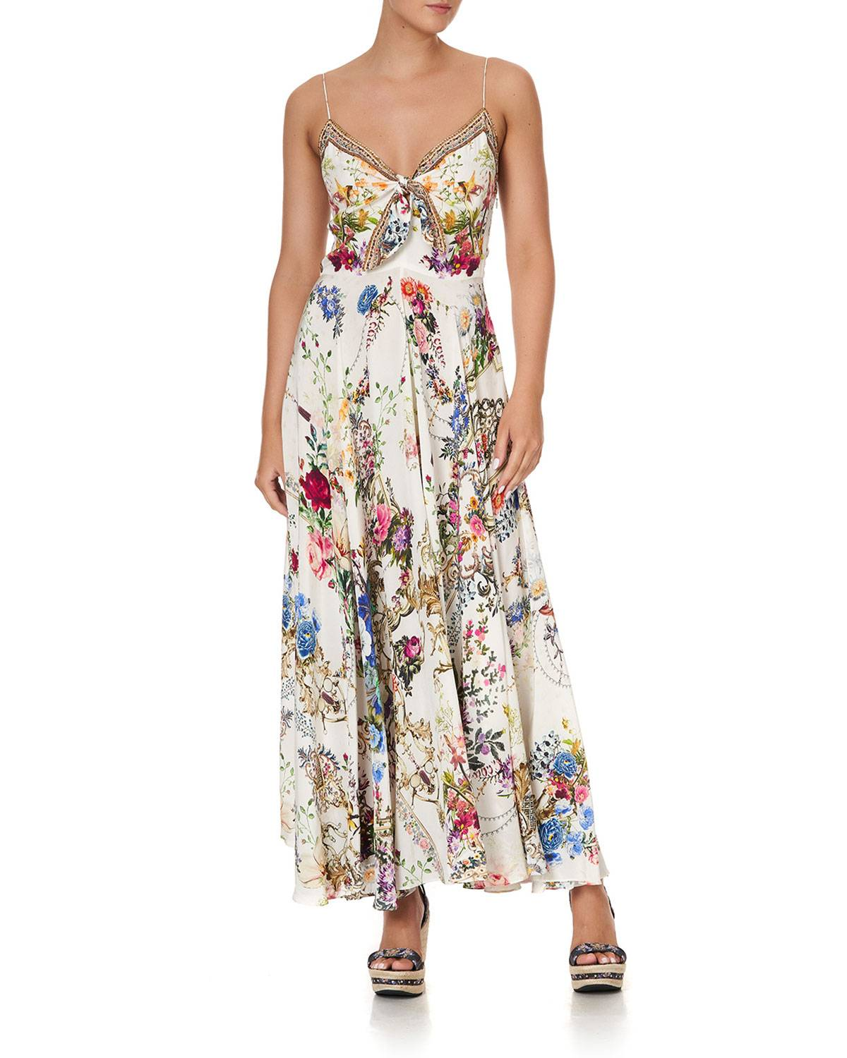 Camilla Sweetheart Floral Long Dress w/ Tie-Front - Size: Medium