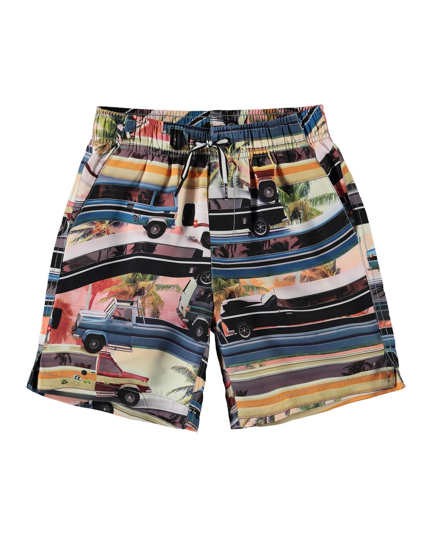 Molo Boy's Nario Car-Truck Printed Swim Shorts, Size 3T-12 - Size: 9-10