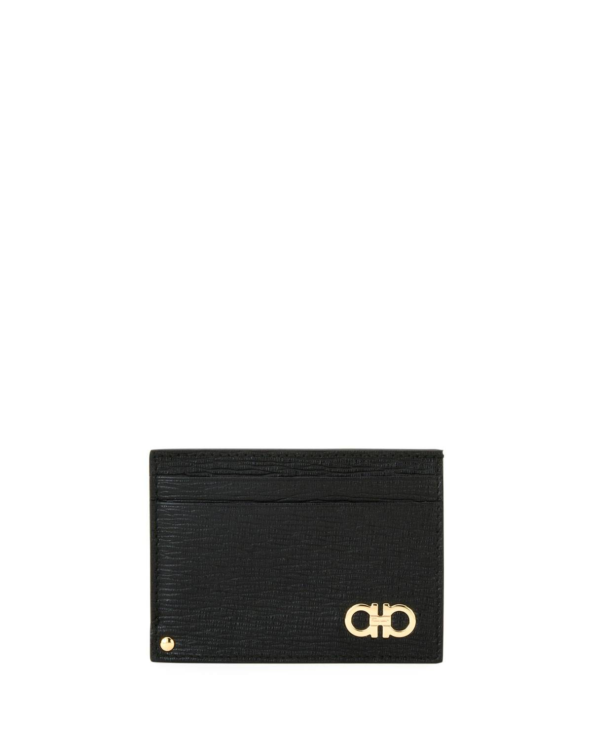 Salvatore Ferragamo Men's Revival Gancini Leather Card Case with Flip-Out ID Window, Black