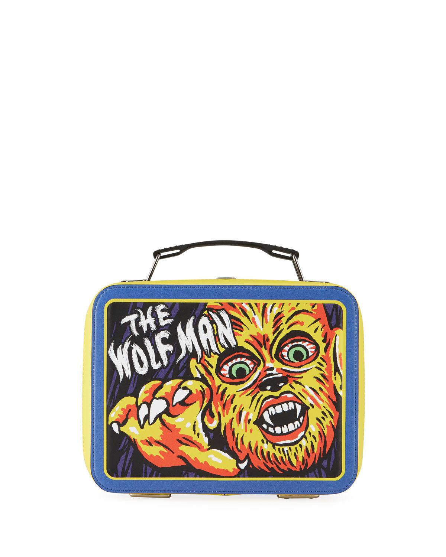 Moschino Men's x Universal Studios The Wolf Man Lunch Box Shoulder Bag - BLUE PATTERN