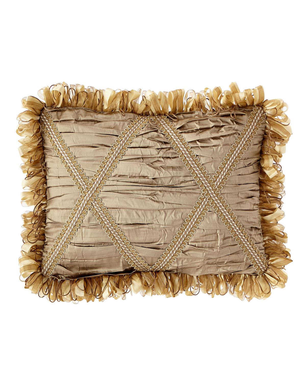 Dian Austin Couture Home Golden Garden Ruched Silk Oblong Pillow