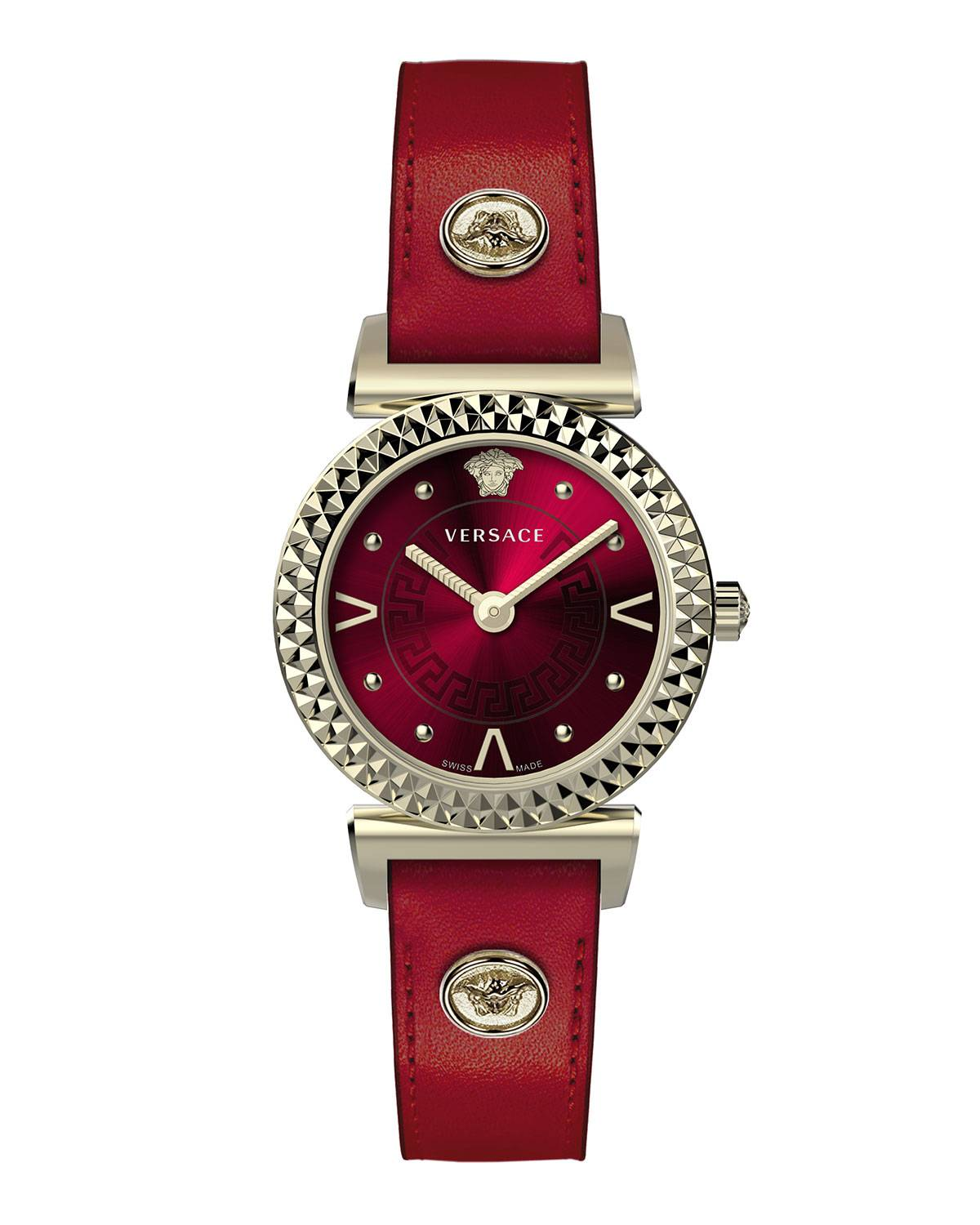Versace Mini Vanity Watch w/ Leather Strap, Gold/Red