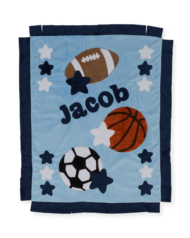 Boogie Baby Good Sport Plush Blanket, Gray/Blue - BLUE