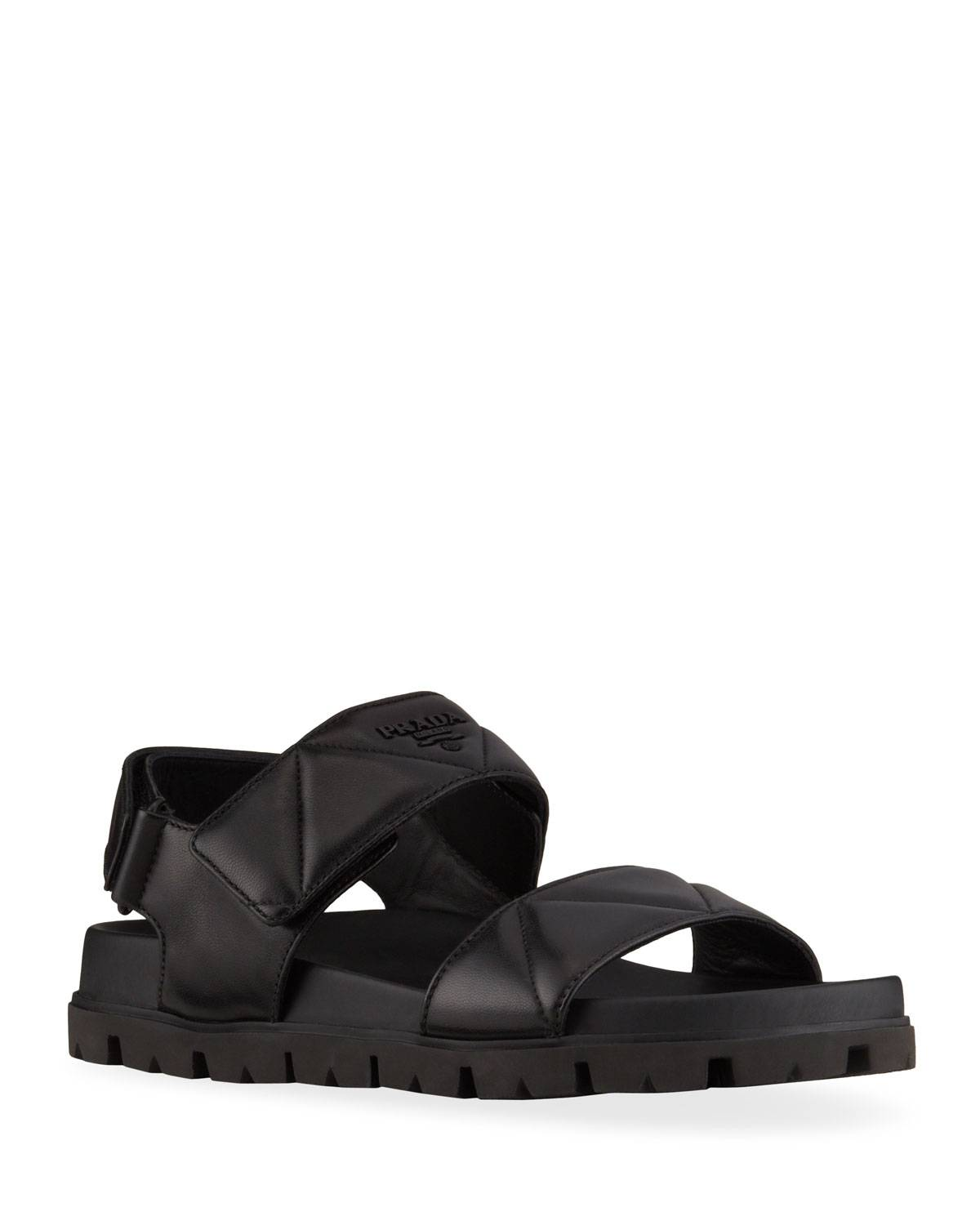 Prada Padded Leather Sport Sandals - Size: 10B / 40EU