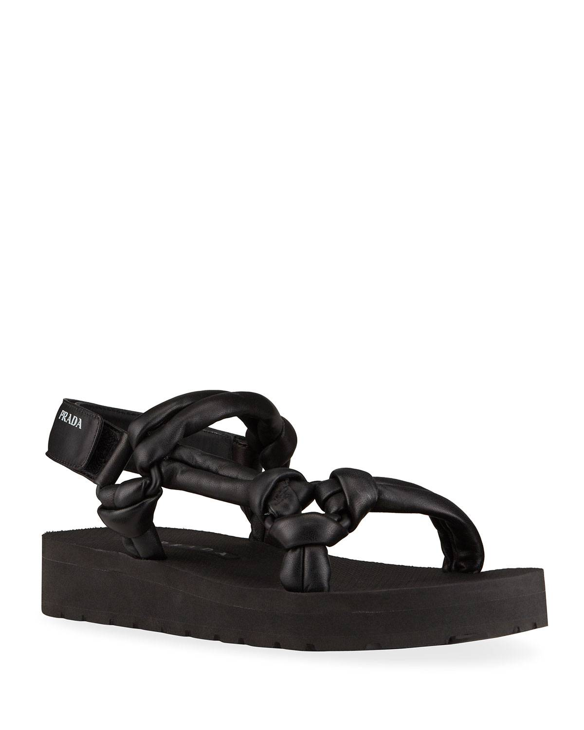 Prada Padded Leather Sport Sandals - Size: 10.5B / 40.5EU