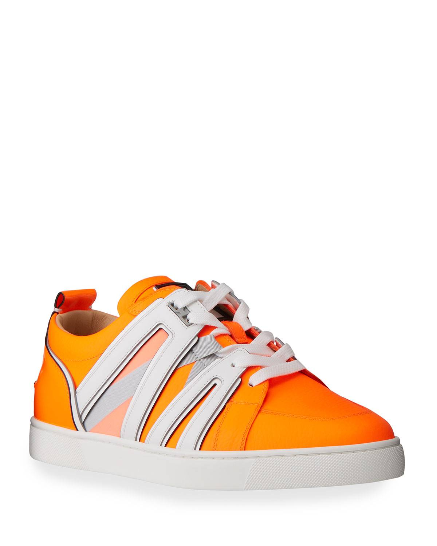 Christian Louboutin Men's Vida Viva Two-Tone Low-Top Sneakers - Size: 44 EU (11D US)