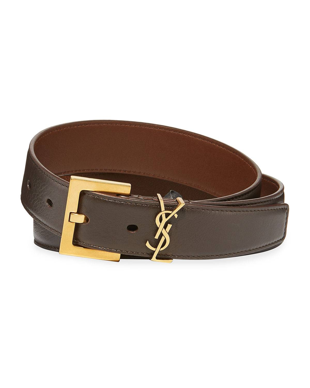 Saint Laurent YSL Monogram Leather Belt - Size: 38in / 95cm