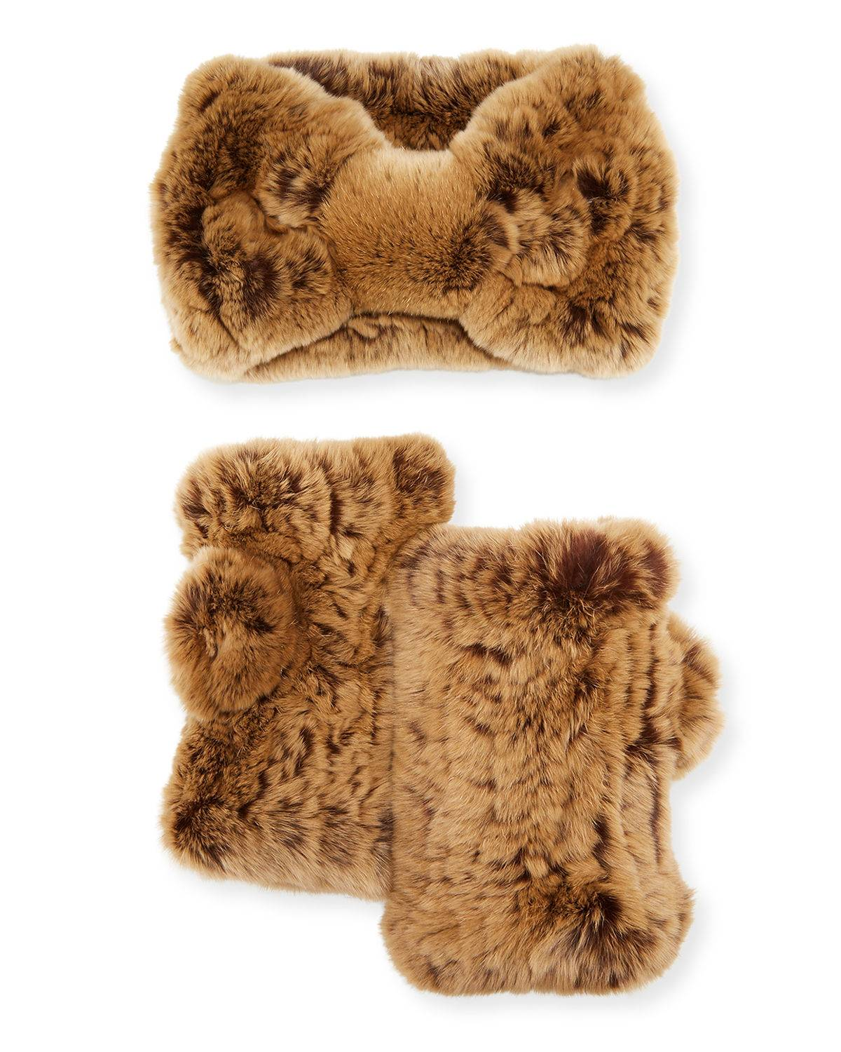Surell Accessories Rex Rabbit Fur Headband & Mittens Gift Set