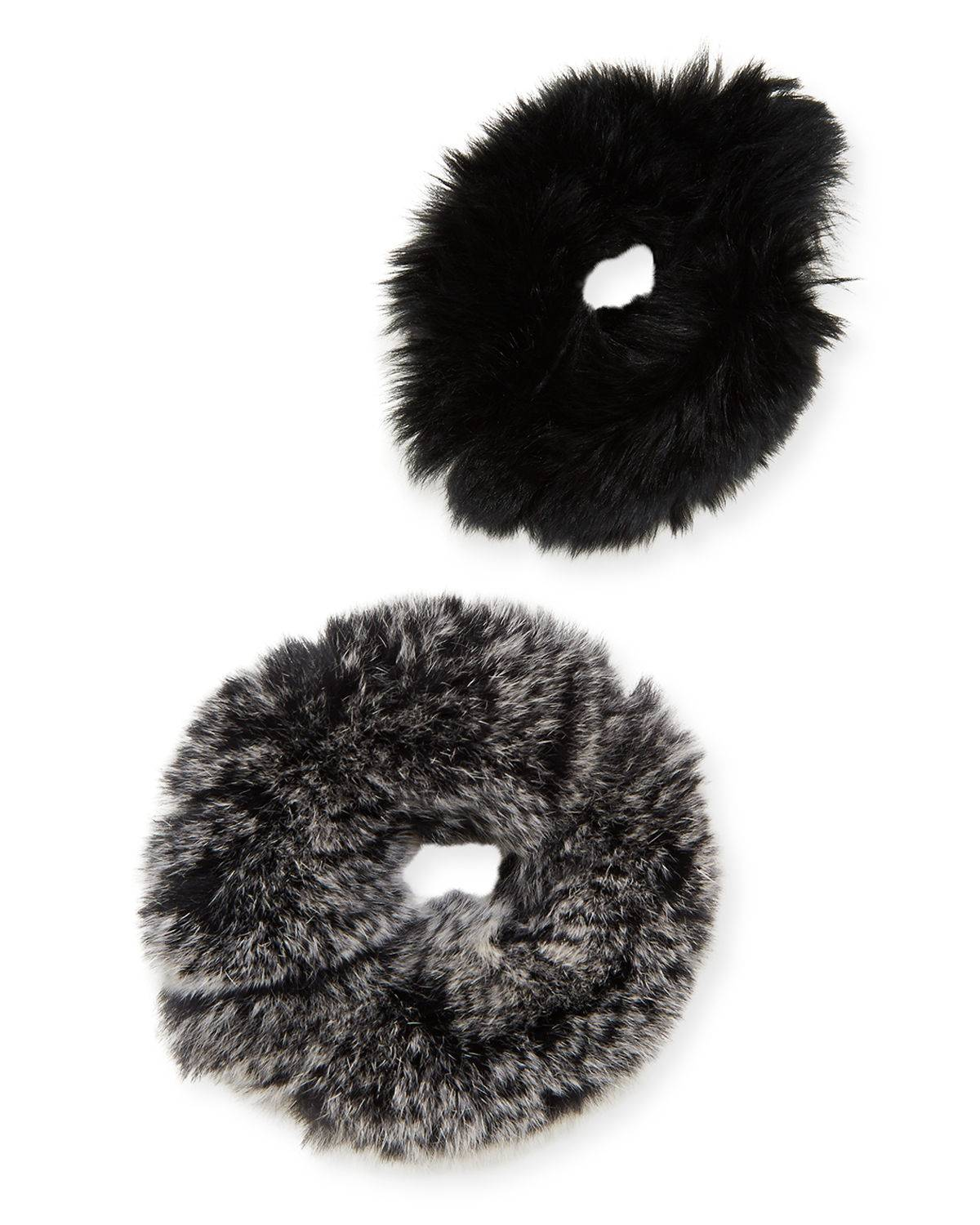 Surell Accessories Rabbit Fur Scrunchies, Set of 2