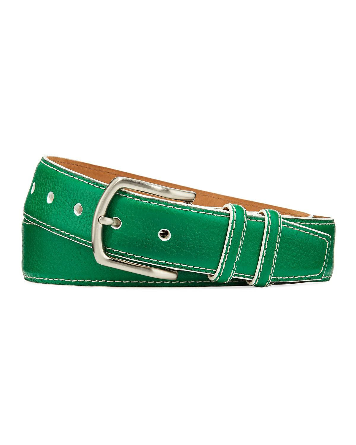 W. Kleinberg Men's South Beach Pebbled Leather Belt - Size: 50in / 125cm