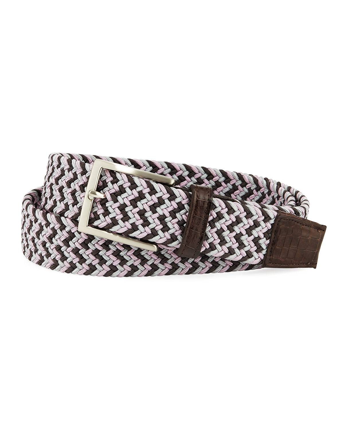 W. Kleinberg Men's Sport Stretch Belt with Crocodile-Trim - Size: 26IN / 65CM