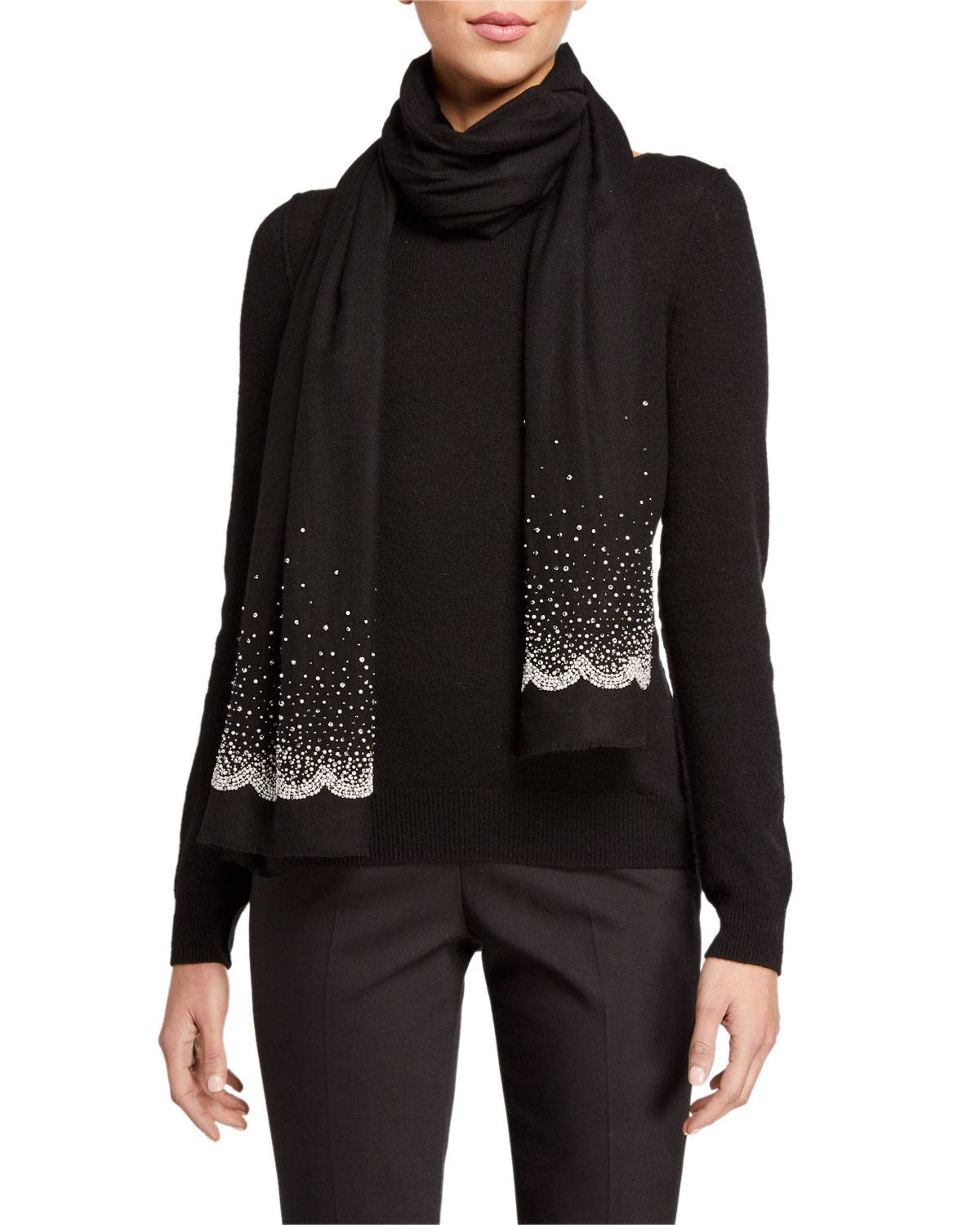 K Janavi Diffused Sparkle Beaded Cashmere Scarf