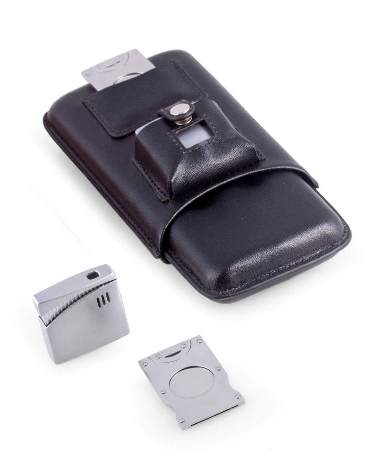 Bey-Berk Cigar Accessory Set with Leather Case