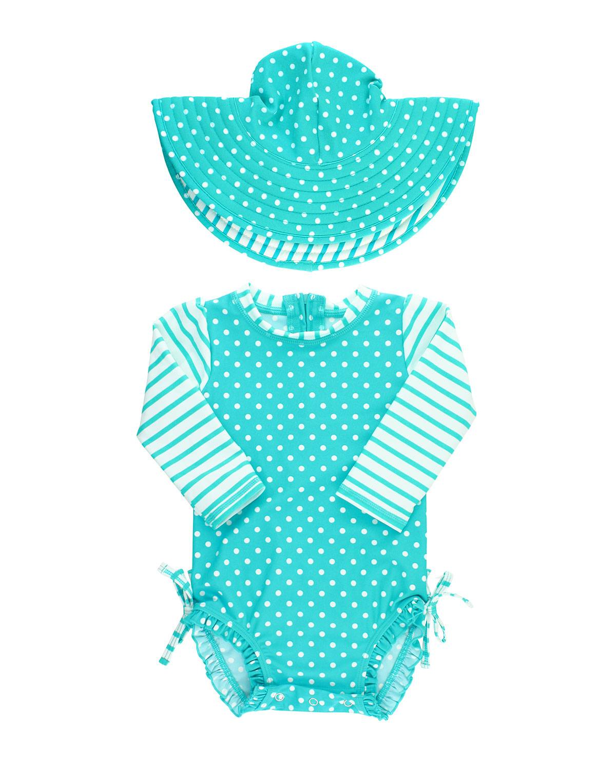 RuffleButts Polka-Dot Ruffle Swimsuit with Matching Hat, Size 0-24 Months - Size: 6-12 Months