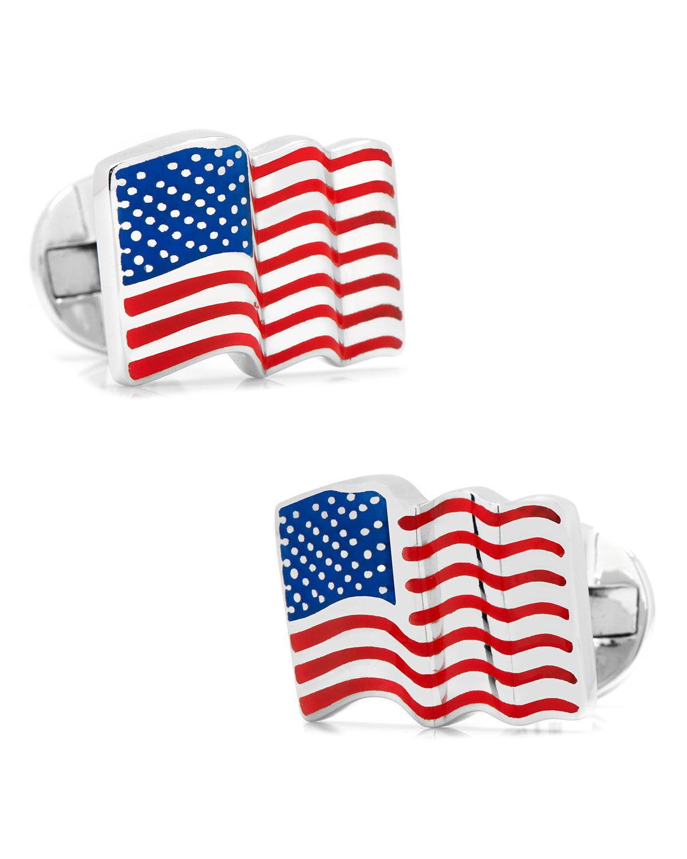 Cufflinks Inc. Waving American Flag Cuff Links