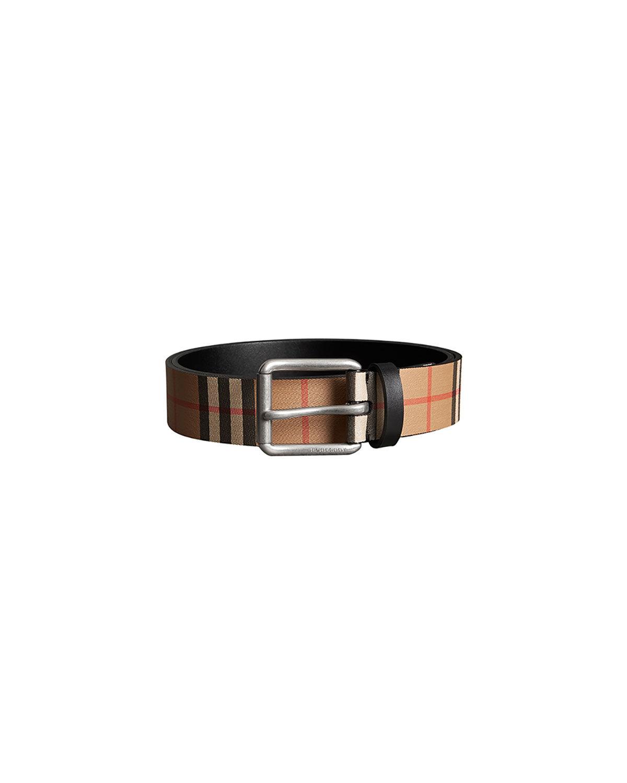 Burberry Men's Mark Check Leather Belt