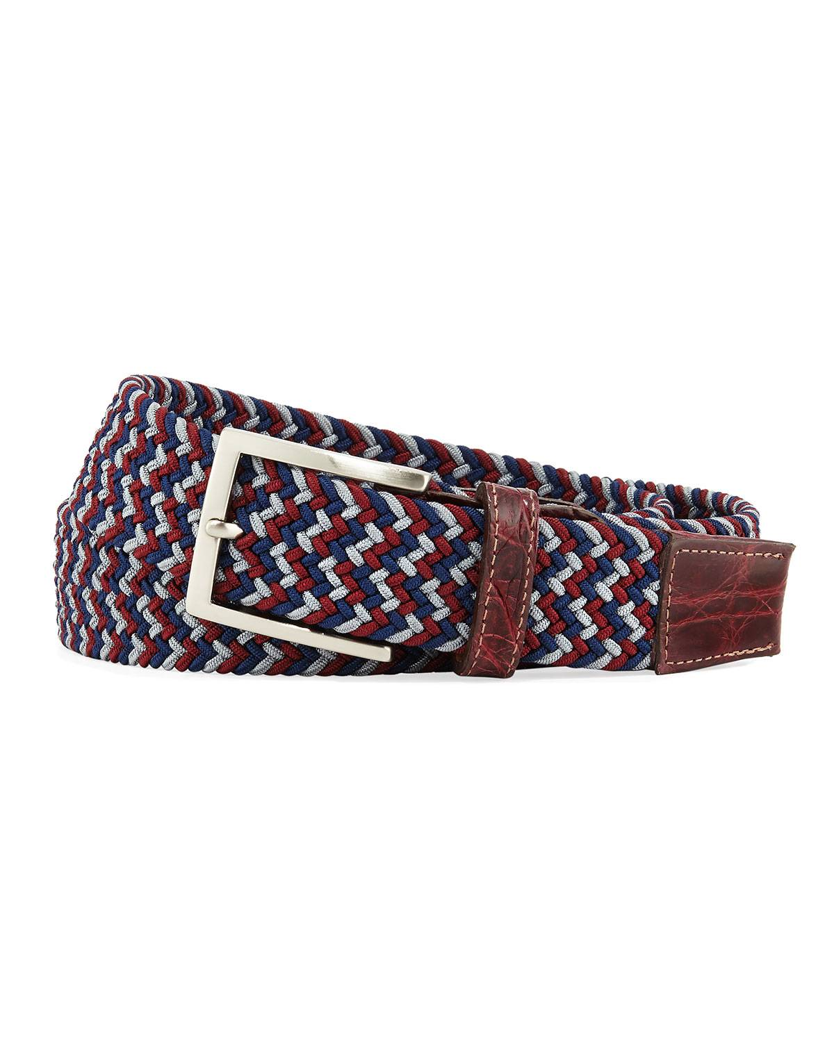 W. Kleinberg Men's Sport Stretch Belt with Crocodile-Trim, Wine - Size: 46in / 115cm