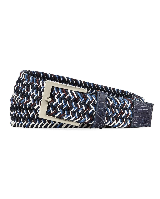 W. Kleinberg Men's Sport Stretch Belt with Crocodile-Trim, Blue - Size: 36in / 90cm