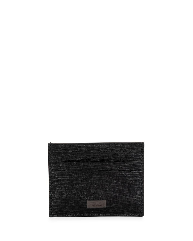 Salvatore Ferragamo Men's Revival Textured Leather Card Case