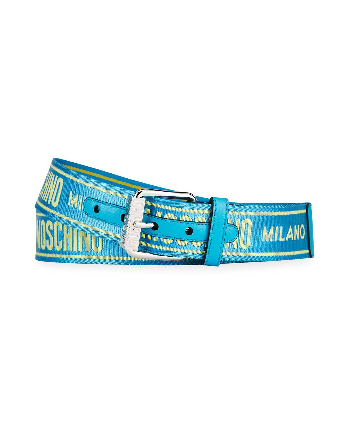 Moschino Men's Logo Webbing Belt - Size: 38in / 95cm