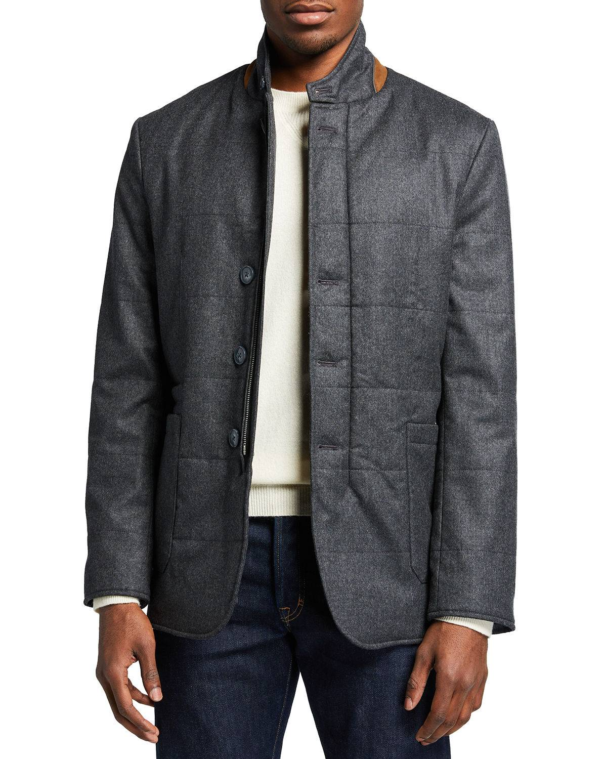 Zanella Men's Quilted Wool-Blend Car Coat - Size: Extra Large