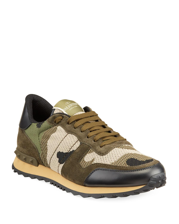 Valentino Garavani Men's Rockrunner Mixed-Media Camo Sneakers - Size: 40 EU (7D US)