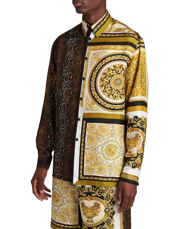 Versace Men's Barocco-Python Patchwork Silk Sport Shirt - Size: 46 EU (18 US)