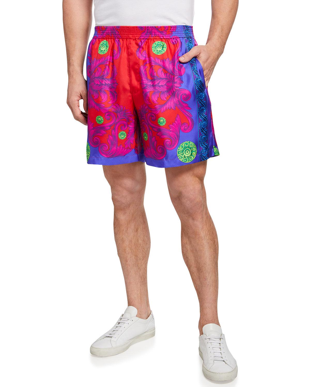 Men's Barocco Garden Medusa-Print Silk Shorts - Size: 46 EU (30R US)