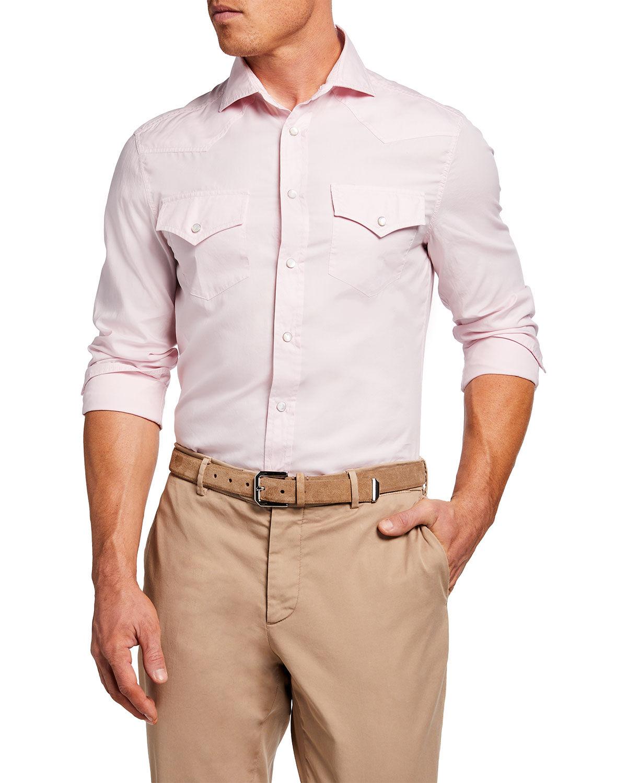 Brunello Cucinelli Men's Solid Leisure-Fit Western Sport Shirt - Size: Small
