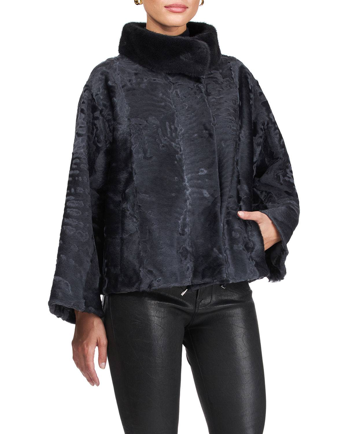 Gorski Lamb Jacket With Mink Collar - Size: Small