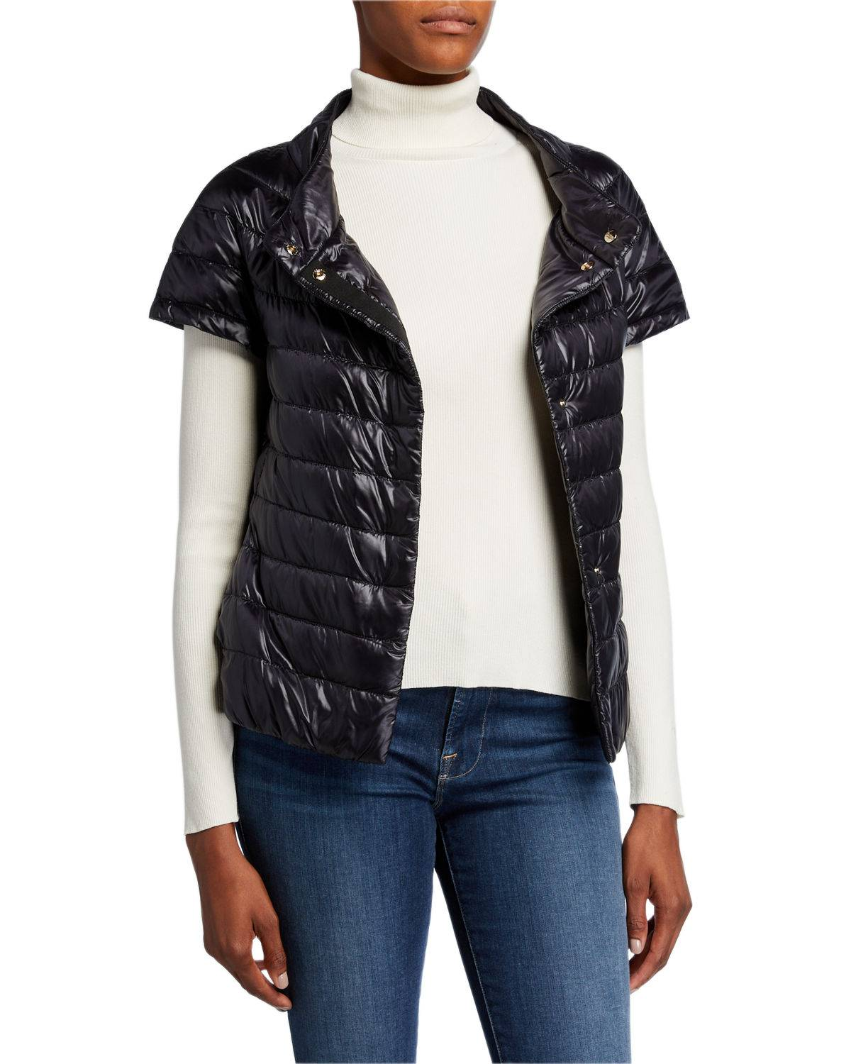Herno Short-Sleeve Snap-Front Quilted Puffer Jacket - Size: 38 IT (2 US)