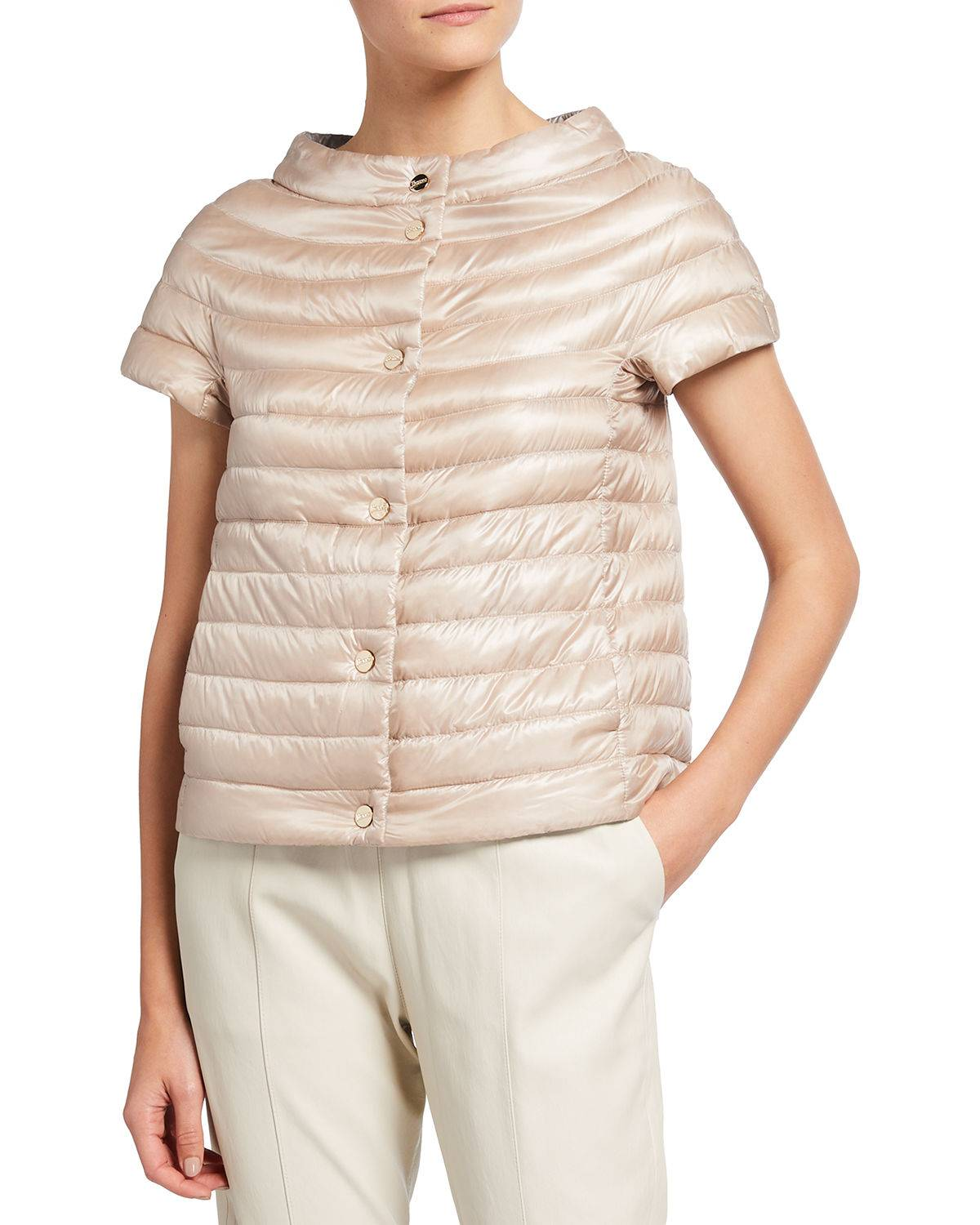 Herno Short-Sleeve Button-Closure Down Jacket - Size: 38 IT (2 US)