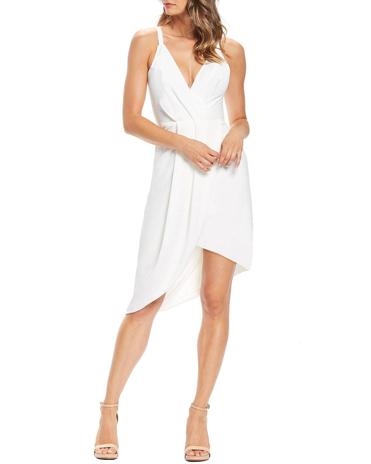 Dress The Population Owen V-Neck Sleeveless High-Low Crepe Cocktail Dress