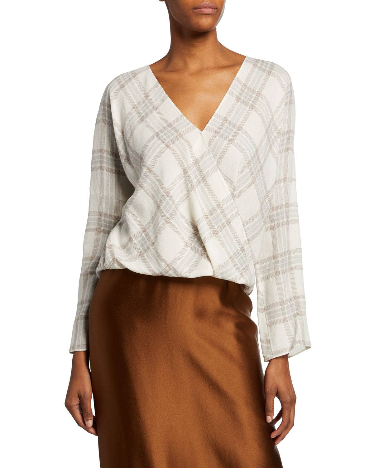 Vince Plaid Crossover Blouse - Size: Extra Large