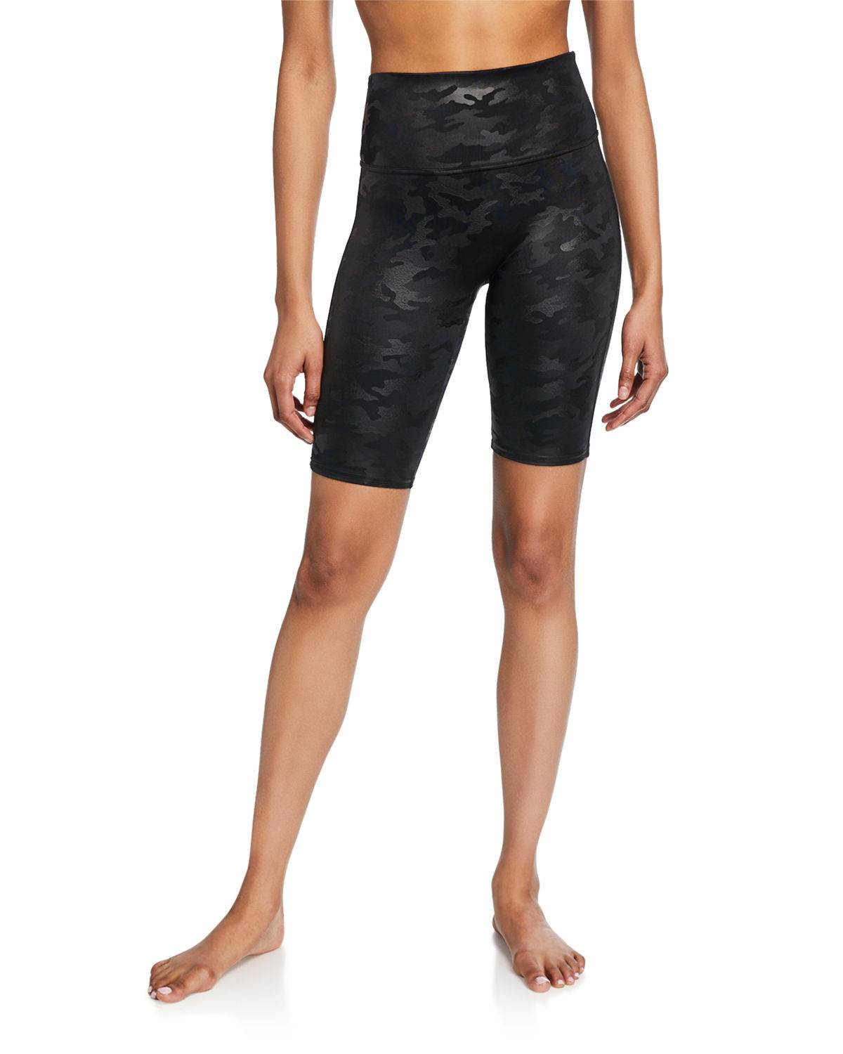 Spanx Faux-Leather Camo Bike Shorts - Size: Small