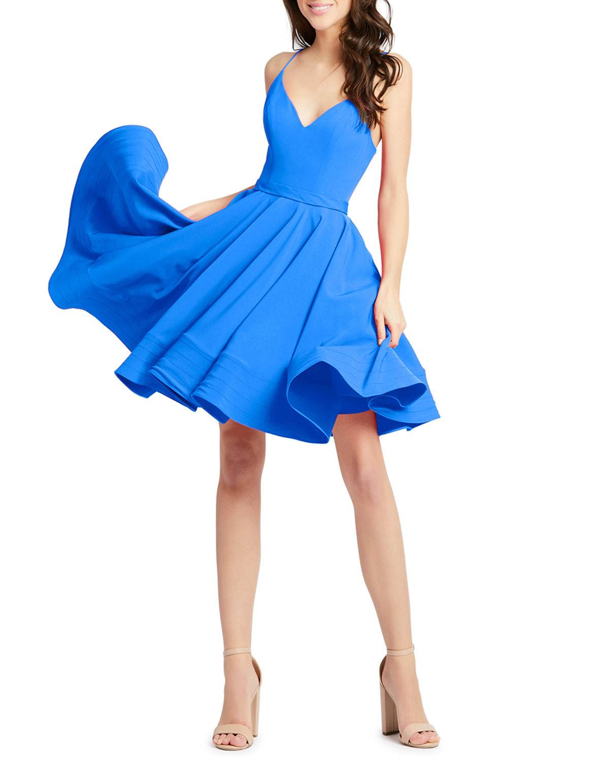 Mac Duggal Sweetheart Sleeveless Fit-and-Flare Dress w/ Pockets