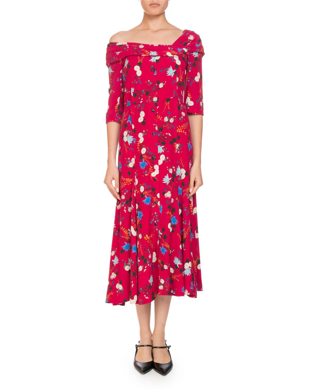 Erdem Iman One-Shoulder Half-Sleeve Garden Floral-Print A-Line Dress