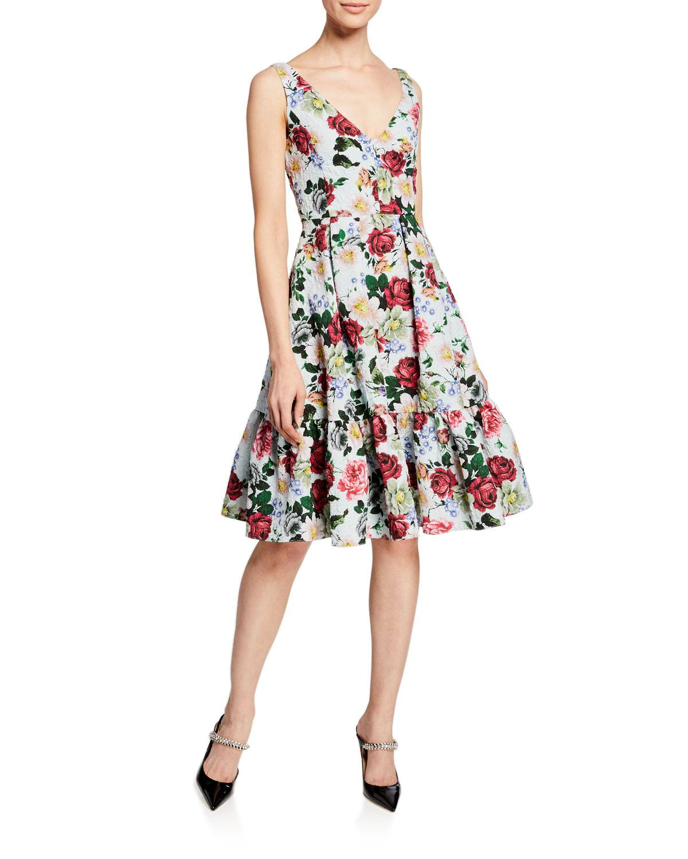 Erdem Gaby Harriet Garden Floral-Print Dress W/Pockets