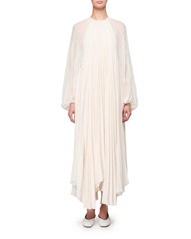 THE ROW Martina Knife Pleated Full-Sleeve Dress