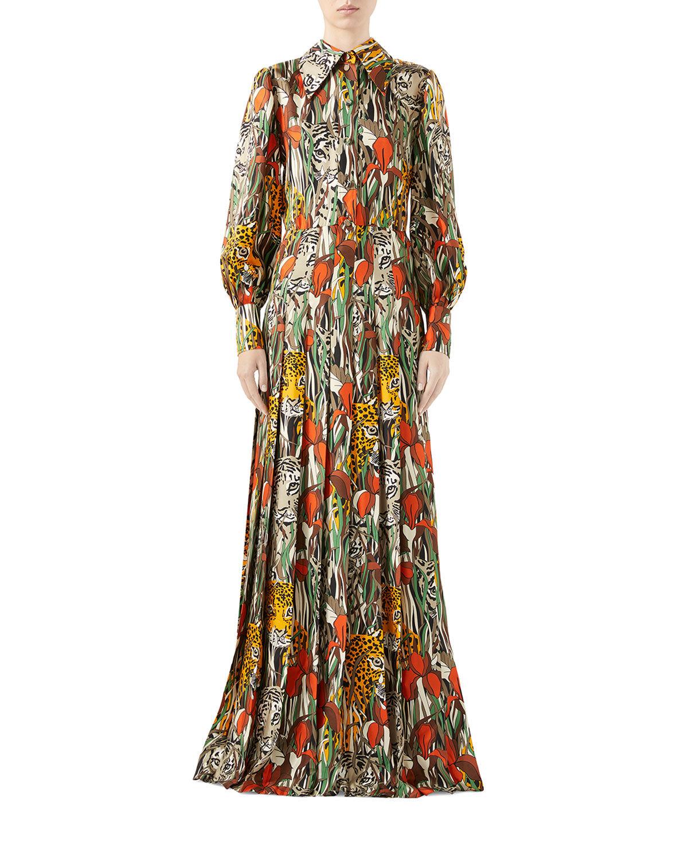 Gucci Feline-Garden Animal-Print Silk Shirtdress