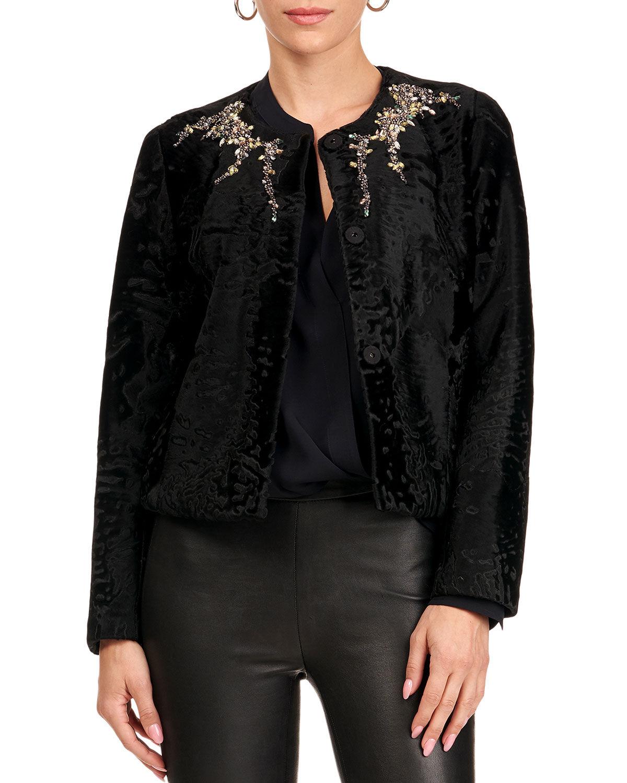 Gorski Lamb Jacket W/ Crystal Detail - Size: Medium