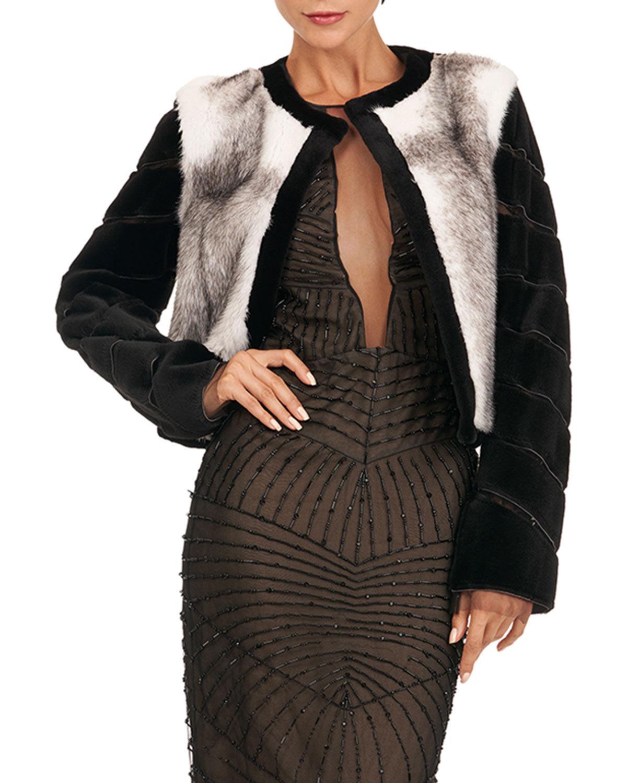 Burnett Mink Jacket w/ Sheared Mink On Tulle Sleeves - Size: Small