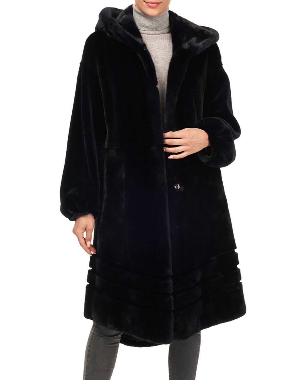 Gorski Short-Nap Mink Coat w/ Hood and Sheared Sleeves - Size: Large