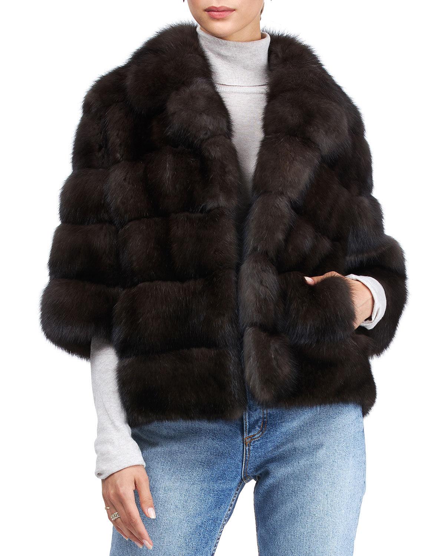 Gorski Short-Sleeve Russian Sable Jacket - Size: Medium