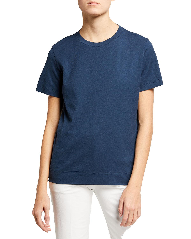 Akris Short-Sleeve Round-Neck Cotton Tee - Size: 6