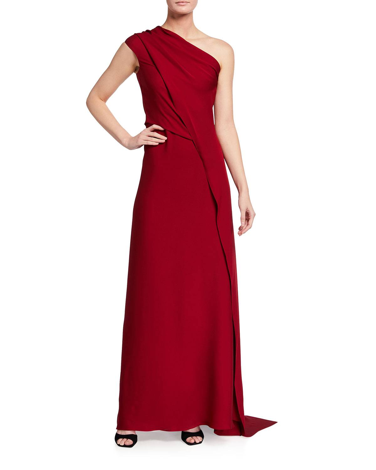 Roland Taishan One-Shoulder Georgette Gown - Size: 10 UK (6 US)