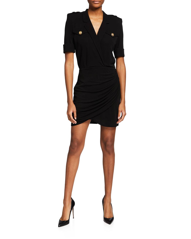 Balmain Short Draped V-Neck Shirtdress - Size: 42 FR (10 US)